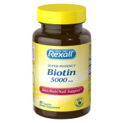 Biotin (Super Potency) 5000mcg Skin Hair Nail Support 180 Caps (2 Bottles of 90 Caps) Made in USA by Rexall