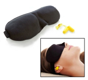 3D Ultra Soft Sponge Padded Sleep Eye Mask Black Contoured with FREE Ear Plugs Earplugs