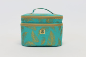 Mary Square Cosmetic Case Two-tier Farrah Teal Beauty Bag