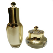Perfectos Set of Gold Empty Clear Pump Bottle with Gold Round Lid 10 Ml Luxury Acrylic Clear Empty Skincare Containers