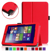 Fintie Premium Vegan Leather Case for ASUS VivoTab Note 8 M80TA Tablet (Windows 8.1) Slim Fit Stand Cover With Stylus Holder - Red