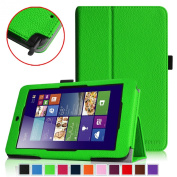 Fintie Premium Vegan Leather Case for ASUS VivoTab Note 8 M80TA Tablet (Windows 8.1) Slim Fit Stand Cover With Stylus Holder - Green