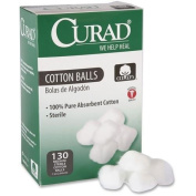 CURAD CUR110163 Sterile Cotton Balls, 2.5cm , 130/Box