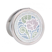 Damara Women's 2-Optical Crystal Round Travel Small Compact Mirror