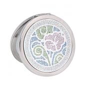 Damara Women's 2-Optical Crystal Round Travel Small Compact Mirror