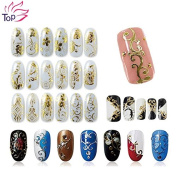 108 Pattern/sheet Large Size Bronzing Stickers Paste Manicure Gold Silver Flowers Sticker & Decal 3d Nail Art Decorations