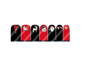 Christmas Red and Black Nail Art Wraps Decals Nail Art Transfer Stickers Set of 14