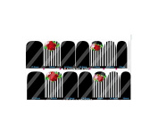 Black & White Red Rose Nail Art Wraps Decals Nail Art Transfer Stickers Set of 14