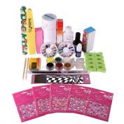 XX Shop Full Nail Art Set Acrylic Glitter Powder Primer TIP Brush Glue Dust KITS