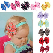 Datework 10PC Cute Babys Headband Hairband Elastic Wave Point Bowknot Photography
