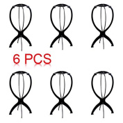 Rbenxia Wig Stand Holder Durable Plastic Folding Wig Display Tool Stable Pack of 6
