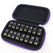 FLYMEI 16-Bottle Easy-carry Fashion Essential Oils Bag - Perfect Travel Oil Bottles Carrying Case - With sturdy zipper - Easy to Hold 2ml/3ml Bottles - Purple