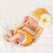 Weitengs Cute Cartoon Sunflower Style Infant Newborn Baby Girl Boy Crochet Beanie Hat Clothes Baby Photograph Props