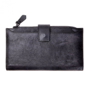 ZLYC Retro Handmade Dip Dye Leather Long Clutch Wallet with Removable Card Holder