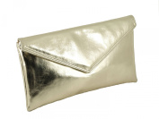 Loni Womens Neat envelope metallic faux leather clutch/shoulder/evening bag - silver or gold