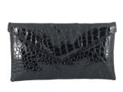 Loni Womens Neat envelope patent croc clutch bag