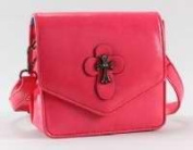 Victoria Leland Designs 82583 Bag-Cross Body Vegan Leather withMetallic Cross Accents - Pink