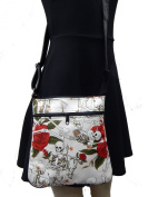 "US HANDMADE FASHION CROSS BODY WITH ""LIFE LITTILE PLEASURE"" PATTERN SHOULDER BAG WITH ADJUSTABLE HANDLES, WHITE, NEW, CSOP 1045"