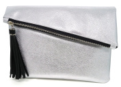 Bijoux De Ja Glitter Leatherette Tassel Envelop Statement Purse Clutch Evening Handbag