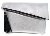 Bijoux De Ja Glitter Leatherette Tassel Envelop Statement Purse Clutch Evening Handbag