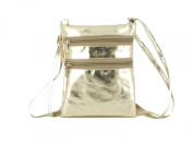 Loni Womens Funky Small Flat Shoulder/Cross-Body Faux Leather Metallic Gold or Silver Bag