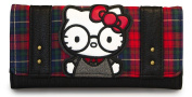 Hello Kitty by Loungefly Tri-fold Wallet With Round Glasses Printed Plaid