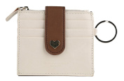 Ogem Womens Leather Peach Heart Card Wallet Useful Credit Card Wallets Small Purse with Key Chain and Zipper