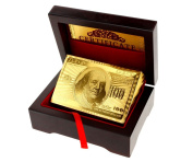 24K Gold Plated Playing Cards Poked Deck 99.9% Pure + Deluxe Wooden Box Gift
