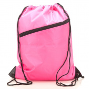 RayGar Drawstring Bag Backpack Rucksack School Book Bag With Corner Protectors / Large Front Zipped Pocket / Built- In Slot for Earphones Headphones / Sport Gym Swim PE Football Karate Ju-Jitsu Running Swimming Boxing Judo Netball Bag 'Brand New'
