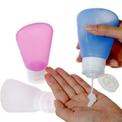 Silicone Travel Bottles Set Squeezable Travel Containers For Shampoo, Conditioner, Lotion, Toiletries, Red Blue White