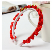 Red Children Girls Rose Floral Crown Bright-Coloured Head Band by 24/7 store