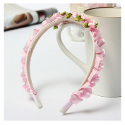 Light Pink Children Girls Rose Floral Crown Bright-Coloured Head Band by 24/7 store