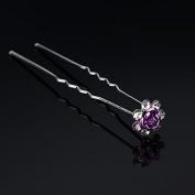 Light Purple Bridal Headpieces Hair Accessories U-clip Rhinestone Flower Hairpin by 24/7 store