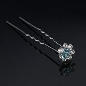 Light Blue Bridal Headpieces Hair Accessories U-clip Rhinestone Flower Hairpin by 24/7 store