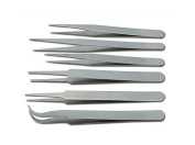 SBParts® Silver Stainless Steel Tweezer Set Tools-6 pcs
