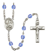 Silver Plate Rosary features 6mm Sapphire Fire Polished beads. The Crucifix measures 1 3/8 x 3/4. The centrepiece features a St. Francis Xavier medal.
