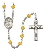 Silver Plate Rosary features 6mm Topaz Fire Polished beads. The Crucifix measures 1 3/8 x 3/4. The centrepiece features a St. Bede the Venerable medal.