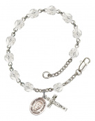 Silver Plate Rosary Bracelet features 6mm Crystal Fire Polished beads. The Crucifix measures 5/8 x 1/4. The charm features a St. Hannibal medal.