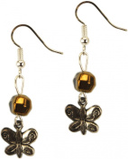 Earrings, Crystal and Butterfly Charm Dangle + FREE GIFT BAG
