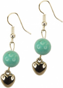 Earrings, Turquoise and Heart Dangle + FREE GIFT BAG