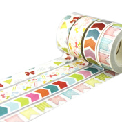 Washi Masking Tape, 5m By 15mm, Set of 4 Different Style, Washi Masking Tape for Party, DIY