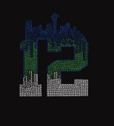 Seattle Seahawk Skyline the Rhinestone Iron on Transfer