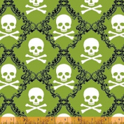 "1/2 Yard - ""Raven"" Skulls on Green Cotton Fabric - Design by Rosemarie Levin (Great for Quilting, Sewing, Craft Projects, Throw Pillows & More) 1/2 Yard X 110cm Wide"
