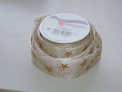 Prasent Star pattern 3.8cm . x 1.8m 100% Polyester Christmas Ribbon - Great for the Holiday Season!