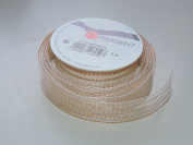 Prasent Gold and Ivory Sheen pattern 2.2cm . x 3m 100% Polyester Christmas Ribbon - Great for the Holiday Season!