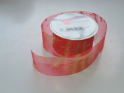 Prasent Gold Moon pattern 3.8cm . x 1.8m 100% Polyester Christmas Ribbon - Great for the Holiday Season!