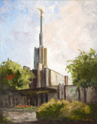 Oil Painting Print of LDS Temple -14x11, summer in Atlanta, Painted by Stewart Huntington