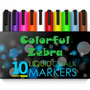 10 Colour 6mm Colourful Zebra Premium Quality Liquid Chalk Markers Set + 6 Reversible Tip - Washable & Dry Erase for Fast Cleanup - Perfect for Kids - School and Business - Blackboard Chalk