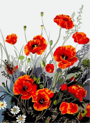 [ New Release, Wooden Framed or Not ] Diy Oil Painting by Numbers, Paint by Number Kits - Red Poppy 16*50cm - PBN Kit for Adults Girls Kids White Christmas Decor Decorations Gifts