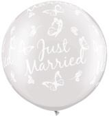Pearl White Just Married Butterflies-A-Round Giant 80cm Qualatex Latex Balloons x 2